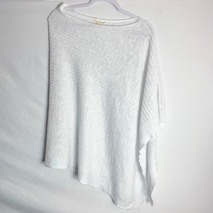 Eileen Fisher White Knit Asymmetrical Blouse